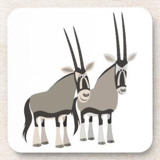 Cute Pair of Cartoon Oryxes Coasters Set