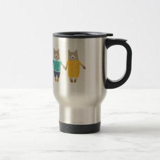Cute pair of happy bears travel mug