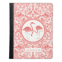 Cute Pair Of Hot Pink Flamingos With Swirls iPad Case