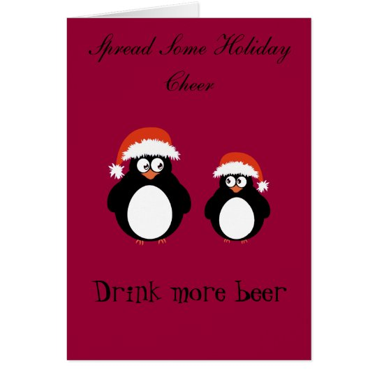 Cute pair of penguins red hat cheer card