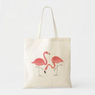 Cute Pair Of Pink Flamingo Illustration Tote Bag