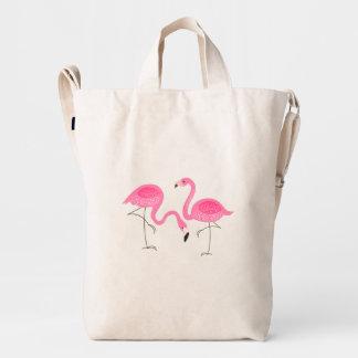 Cute Pair Of Pink Flamingos Illustration Duck Bag