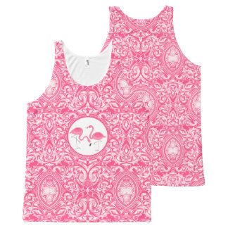 Cute Pair Of Pink Flamingos With Swirls All-Over-Print Tank Top
