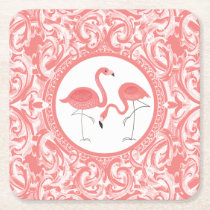 Cute Pair Of Pink Flamingos With Swirls Square Paper Coaster