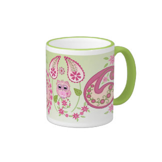 Cute Paisley/floral design with Baby Owls mug