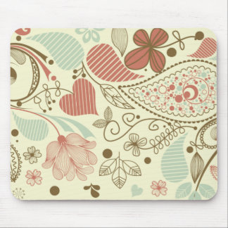 Cute Paisley Hearts & Flowers Retro Floral Mouse Pad