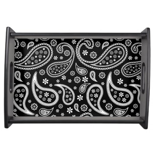 Cute Paisley Pattern - Vintage Antique Black Style Food Tray