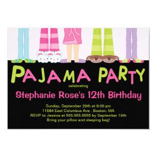 Pajama party invitations announcements zazzle cute pajama party birthday party invitations filmwisefo