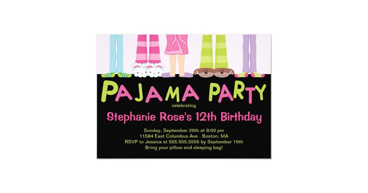 Cute Pajama Party Birthday Party Invitations   Zazzle.com