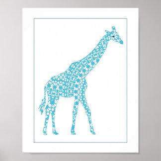 Cute Pale Blue Giraffe Baby Nursery Wall Art Decor