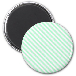 Cute Pale Green and White Diagonal Stripes 2 Inch Round Magnet