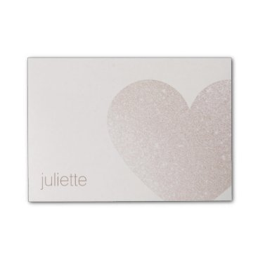Valentines Themed Cute Pale Pink Glitter Heart Post-it Notes