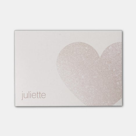Cute Pale Pink Glitter Heart Post-it Notes