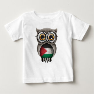 Cute Palestinian Flag Owl Wearing Glasses Baby T-Shirt