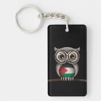 Cute Palestinian Flag Owl Wearing Glasses Double-Sided Rectangular Acrylic Keychain