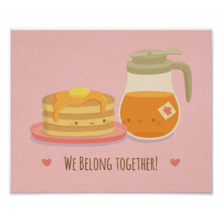 Cute Pancakes and Maple Syrup Kitchen Wall Decor