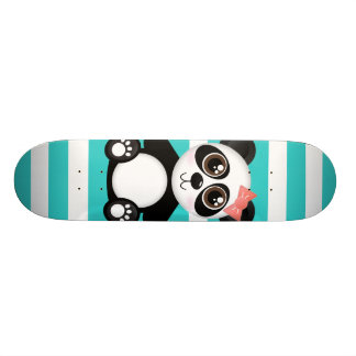 Cute Panda and Aqua Stripes Skateboard