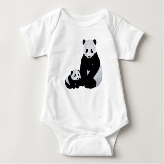 Cute Panda and Cub Baby Bodysuit