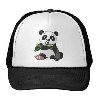 cute,panda bear animated,happy, eating bamboo trucker hat
