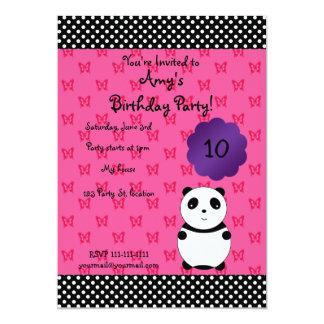 "Cute panda bear birthday invitation 5"" x 7"" invitation card"
