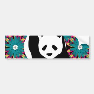 Cute Panda Bear Blue Pink Flowers Floral Pattern Car Bumper Sticker