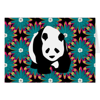 Cute Panda Bear Blue Pink Flowers Floral Pattern Stationery Note Card