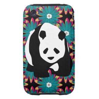 Cute Panda Bear Blue Pink Flowers Floral Pattern iPhone 3 Tough Cases