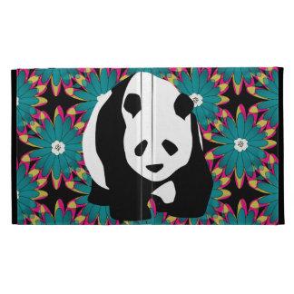 Cute Panda Bear Blue Pink Flowers Floral Pattern iPad Folio Covers