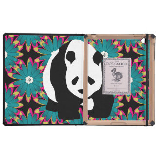 Cute Panda Bear Blue Pink Flowers Floral Pattern Covers For iPad