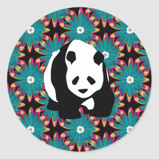 Cute Panda Bear Blue Pink Flowers Floral Pattern Classic Round Sticker