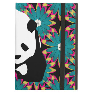 Cute Panda Bear Blue Pink Flowers Floral Pattern Cover For iPad Air