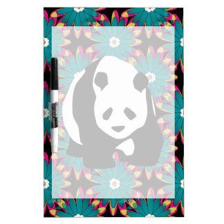 Cute Panda Bear Blue Pink Flowers Floral Pattern Dry-Erase Whiteboards