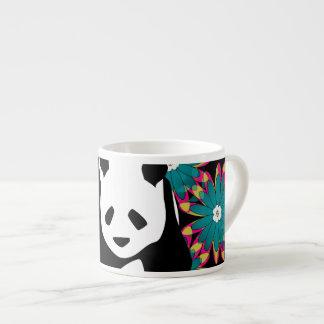 Cute Panda Bear Blue Pink Flowers Floral Pattern Espresso Cup