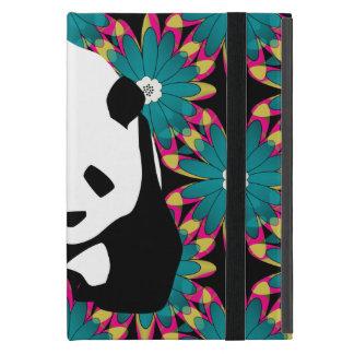 Cute Panda Bear Blue Pink Flowers Floral Pattern Covers For iPad Mini