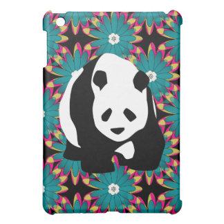 Cute Panda Bear Blue Pink Flowers Floral Pattern iPad Mini Cover
