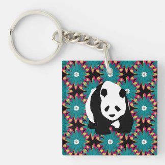 Cute Panda Bear Blue Pink Flowers Floral Pattern Key Chains