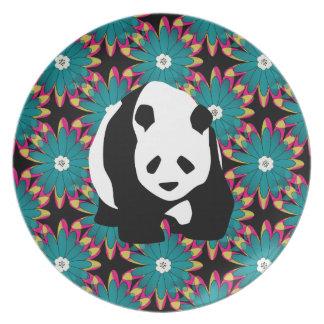 Cute Panda Bear Blue Pink Flowers Floral Pattern Party Plates