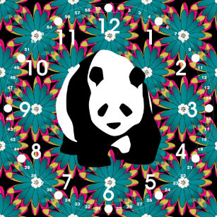 Cute Panda Bear Blue Pink Flowers Floral Pattern Square Wall Clock