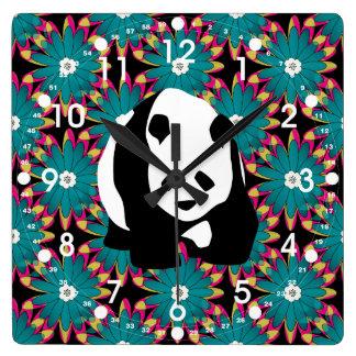 Cute Panda Bear Blue Pink Flowers Floral Pattern Square Wall Clock