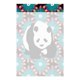 Cute Panda Bear Blue Pink Flowers Floral Pattern Stationery