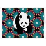 Cute Panda Bear Blue Pink Flowers Floral Pattern Stationery Note Card