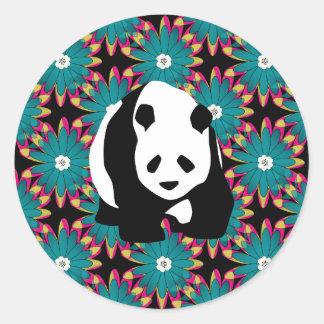 Cute Panda Bear Blue Pink Flowers Floral Pattern Classic Round Sticker