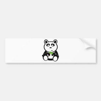 Cute Panda Bear Eating Bamboo Leaves Car Bumper Sticker