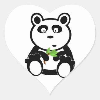 Cute Panda Bear Eating Bamboo Leaves Heart Sticker