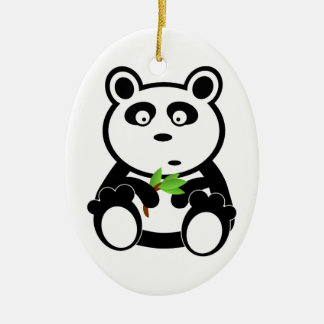 Cute Panda Bear Eating Bamboo Leaves Double-Sided Oval Ceramic Christmas Ornament