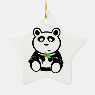 Cute Panda Bear Eating Bamboo Leaves Double-Sided Star Ceramic Christmas Ornament