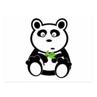 Cute Panda Bear Eating Bamboo Leaves Postcard