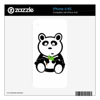 Cute Panda Bear Eating Bamboo Leaves Decals For The iPhone 4