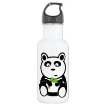 Cute Panda Bear Eating Bamboo Leaves Water Bottle