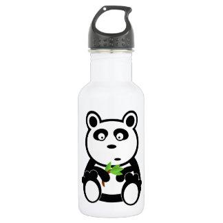 Cute Panda Bear Eating Bamboo Leaves Water Bottle